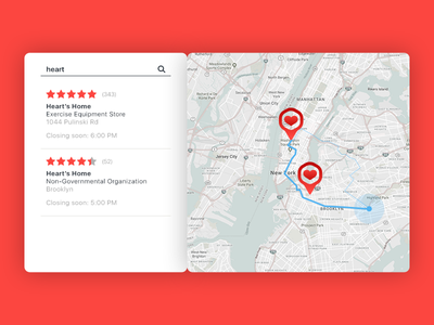 Daily UI 020/100 - Location Tracker 020 daily challenge dailyui ui ux pin list care heart map tracker location