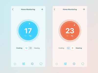 Daily UI 021/100 - Home Monitoring Dashboard toggle icon smart app heating cooling home monitor dashboard ux ui dailyui daily challenge 021