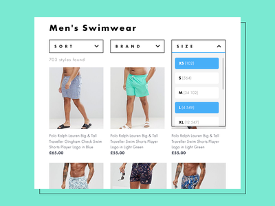 Daily UI 027/100 - Dropdown asos swimwear product tiles product grid refine select dropdown ux ui dailyui daily challenge 027
