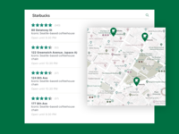 Daily UI 029/100 - Map location list map green sturbucks coffee pin ux ui dailyui daily challenge 029