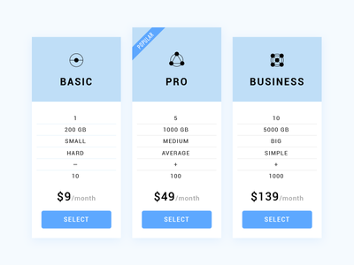 Daily UI 030/100 - Pricing 030 daily challenge dailyui ui ux subscribtion icon blue plan pricing illustration table