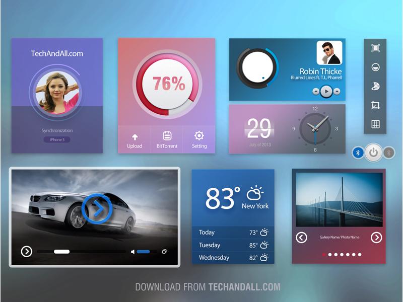 Ui Kit  ui ux flat video download settings bluetooth weather gallery interface layout