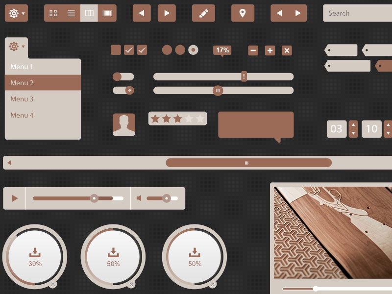 Oak Grain Ui Kit psd freebie ui ux buttons social media icons video arrows freebie