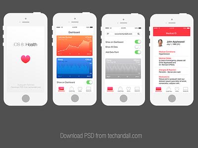 Apple iOS 8: Health App Mockup mockup stationery branding psd freebie business card download psd branding identity mockup ios8 ios7 health app ui