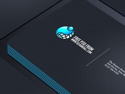 Business  Card Showcase PSD logo branding download designs presentation photo realistic freebies freebie mockup business card psd