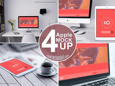 Apple Family Mock up PSD business card mockups macbook imac apple iphone branding logo freebie mockup psd