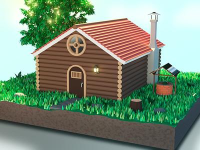 Cabin Low poly color cabin homer nature cycles lowpoly render design blender3d 3dmodel photoshop blender house