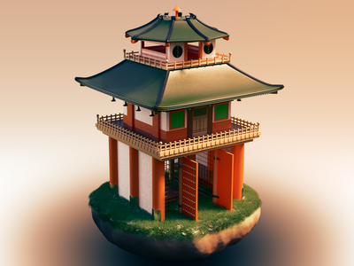 Japanese Entrance warm rendering render cycles temples architecture build japon japonese design blender3d 3dmodel photoshop blender