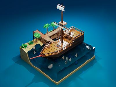 Ship in port design warm color beach island port sea water ship boat lowpoly cycles render blender3d 3dmodel photoshop blender