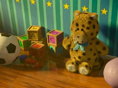 Teddy's playroom room cubes ball hair color toys toy children teddy cycles render blender3d 3dmodel photoshop blender