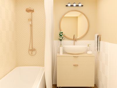 Bathroom Golden render 3dmodel 3d cycles photoshop blender washroom wash toilet elegant yellow golden gold bathroom