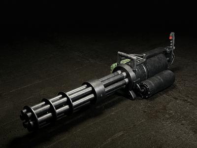 Minigun-Machine Front arm heavy army machine minigun weapon design render 3dmodel photoshop cycles blender