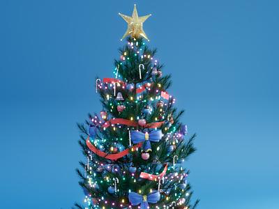 Christmas Tree festival colors party season nature lights december christmas tree cycles blender3d design render 3dmodel blender photoshop