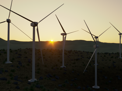 Wind Power Plant modelling peace orange sky warm power plant wind nature sunset design render 3dmodel photoshop cinema4d c4d corona render