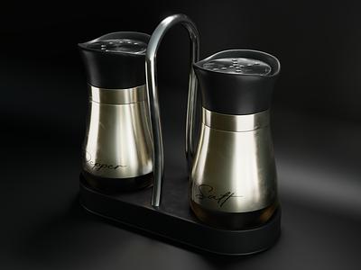 Pepper and salt product salt pepper blender3d design cycles render blender 3dmodel photoshop