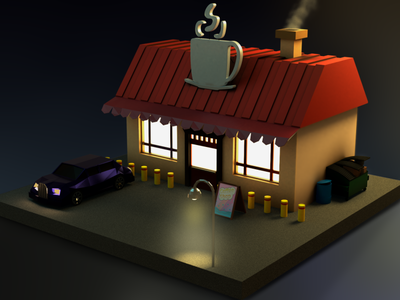 Coffee House at dusk - LowPoly sunset dusk photoshop blender lowpoly coffehouse coffeeshop