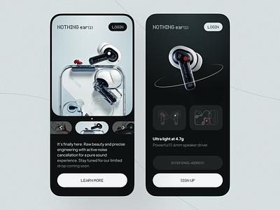 Nothing ear(1) App 2021 design ui design trendy dark mode modern ui music sound audio ios app design nothing ear buds ux ui typography minimal design clean app