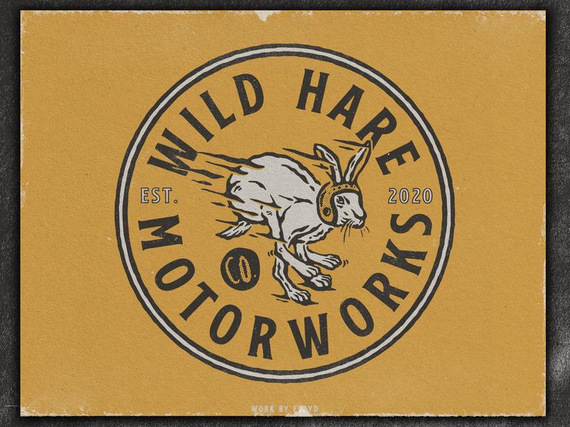 Wild Hare Motorworks custom motorcycle illustration vintage logo branding design badge logo badge design vintage design vintage badge badgedesign badge