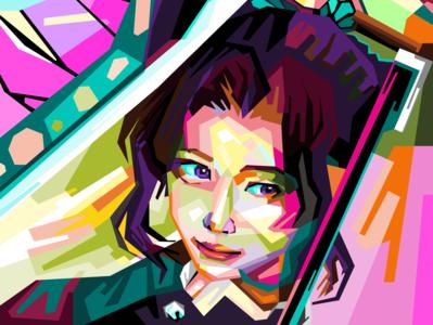 Shinobu WPAP flat logo wpap design work vector illustration portrait minimal commission