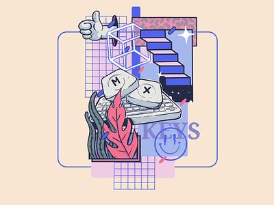 KEYMX colors isometric retroart creative desing inspiring art collage