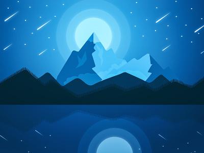 Mountain Night 1 mountain moonshine shinning star blue blue sky design art hill full moon illustration illustration art artwork