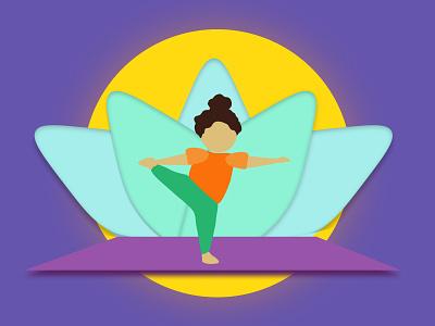 Happy International Yoga Day 2020 character mascot yoga for kids kid lotus sun girl yogi yoga pose yoga mat illustration