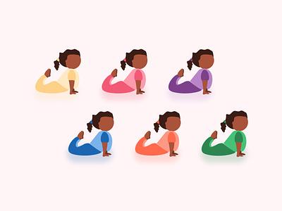 Yogi Girl Costumes yogi attire colors combinations outfit mascot character kid child girl illustration yoga pose yoga for kids