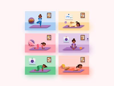 Yoga Rooms mascot character concept kids room illustration cat yoga pose child girl yogi colors yoga for kids