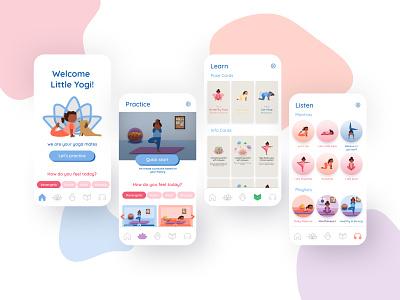 Yoga For Kids App listen learn practice yogi girl avatar app mobile kids child ui character mascot illustration girl yogi yoga for kids