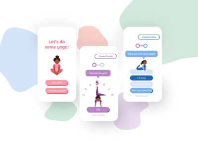 Yoga For Kids Let's Start create profile sign up sign in ux mobile mascot child ui character illustration girl yoga for kids yogi