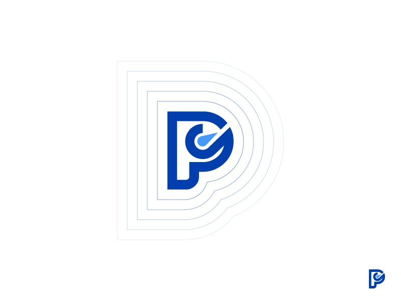 Performly p monogram blue branding logo talents empower software cloud management performance