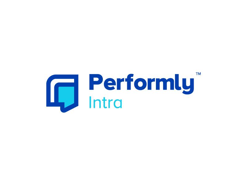 Performly Intra Logo intranet internal logomark blue branding logo talents empower software cloud management performance