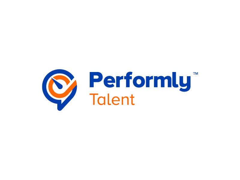 Performly Talent Logo orange blue branding logo talents empower software cloud management performance