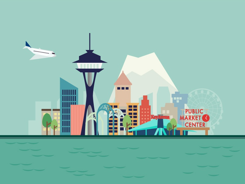 Seattle Illustration seattle graphic design city digital illustration skyline vector flat design