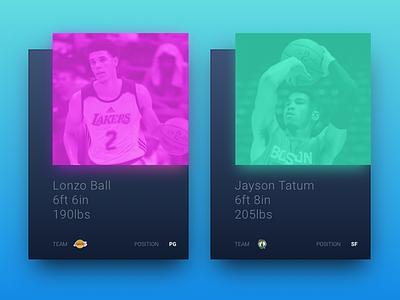 NBA Rookie Profile Cards celtics lakers jayson tatum lonzo ball lonzo card design card basketball nba ux ui web