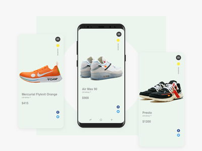 Off-White Product Detail shoes product detail product nike off-white sneaker concept app mobile android ux ui