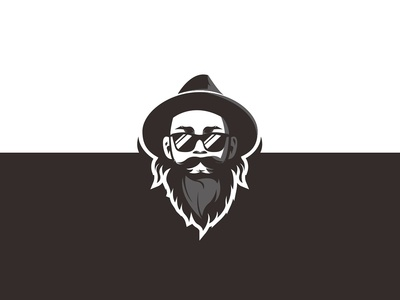 Bearded person with a hat Logo concept.