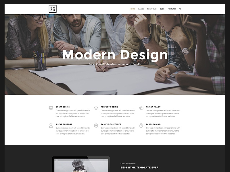 Enigma Multipage photography onepage creative minimal clean agency