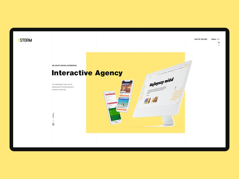 Vstorm - Interactive Agency corporate onepage ux ui minimal agency portfolio clean creative