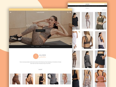 Align Pilates Website retail pilates ecommerce website design branding