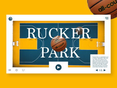 Rucker Park yellow web photoshop graphic design creative dribbble webdesign website typography ui ux design