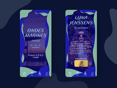 Mobile app - Festival concept webdesign ui typogaphy mobile design mobile app mobile graphic design graphic festival design creative colors blue application app