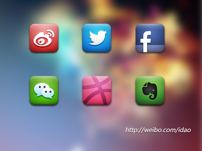 Social Icons icon wechat weibo redesign evernote twitter weixin dribbble facebook