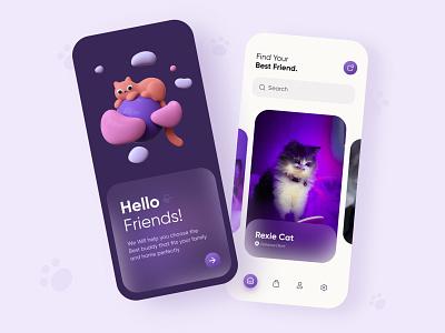 Pet Adoption App - Mobile app mobile ui app ui design ux ui design mobile app mobile mobile apps minmi uiux interface onboarding adopting pet animal pet adoption minimal app