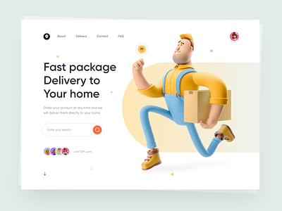 Package Delivery - Web Design web website interface ui ux design website design landing page 3d design uiux ux ui minimal