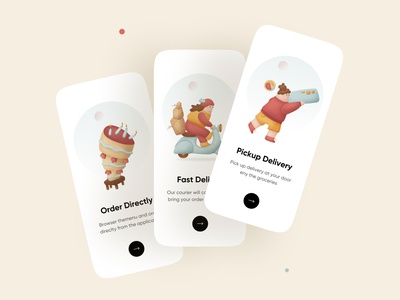 Onboarding - Mobile App food delivery app food delivery delivery onboarding illustations illustration ios iphone mobile ui mobile app mobile minimal userexperience userinterface ux ui
