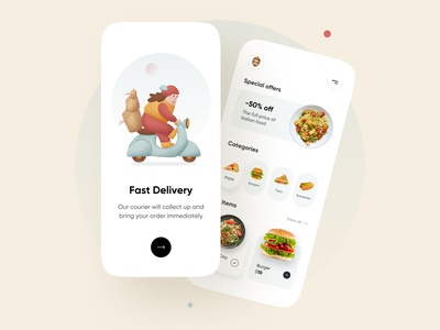 Food Delivery Application - Mobile App delivery app ecommerce 3d delivery service app mobile app design ios mobile application mobile mobile app delivery minimal userexperience userinterface uiux onboarding