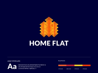 Home Flat - Logo Design 3d modern modern home concept flat home h realestate company abstraction vector branding business tecnology illustration branding identity abstract symbol logo gradient