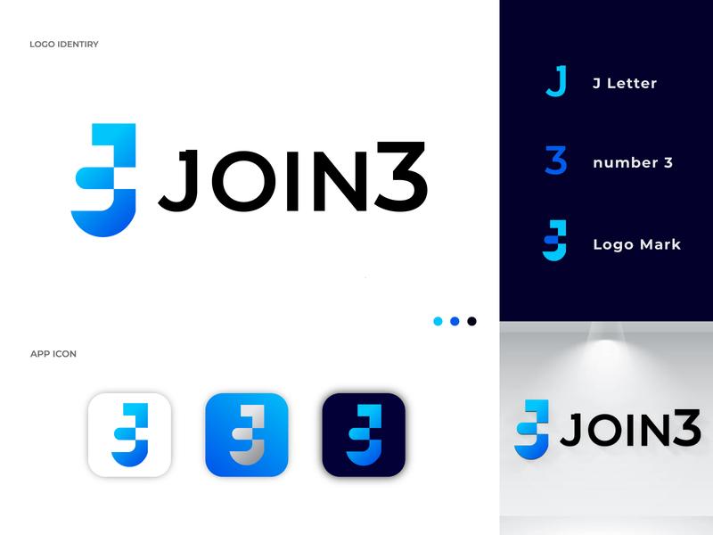 Join 3 - logo design web lettermark j letter creative number modern logo illustrator branding concept branding logo join vector logo mark branding identity branding business symbol abstract modern gradient logo