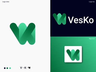 Vesko logo design team business logo graphicdesign tech logo letter business logo mark branding identity branding symbol abstract modern gradient logo